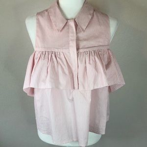 Forever 21 top sz small pink white stripe ruffle